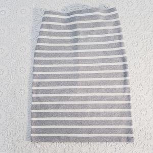 GAP Striped Straight Knit Skirt, Gray/White, Sz L